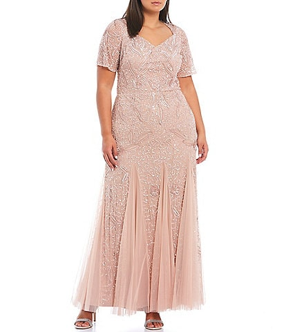 Adrianna Papell Plus Size Sweetheart Neck Short Sleeve Beaded Mesh Gown