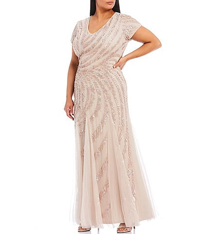 Adrianna Papell Plus Size V-Neck Short Sleeve Beaded Gown