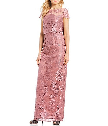 Adrianna Papell Pop Over Embroidered Metallic Lace Gown