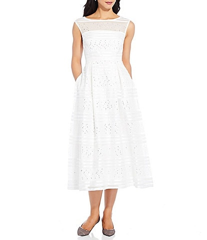Adrianna Papell Ribbon Embroidered Sleeveless Boat Neck Gown