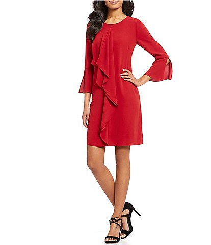 Adrianna Papell Ruffle Front Crepe Dress