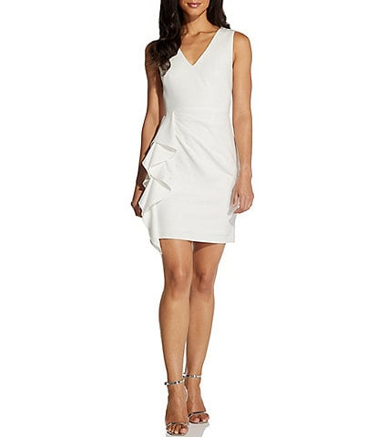 Adrianna Papell Ruffle Front V-Neck Sleeveless Crepe Sheath Dress