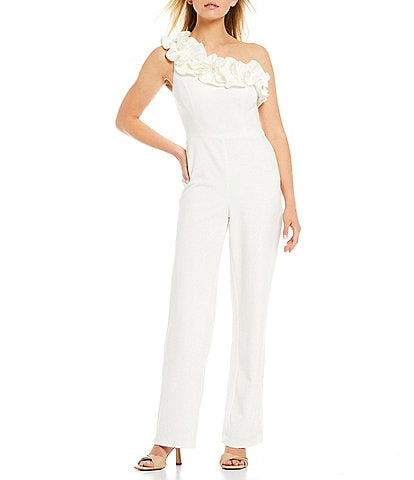 Adrianna Papell Ruffle One Shoulder Stretch Crepe Jumpsuit