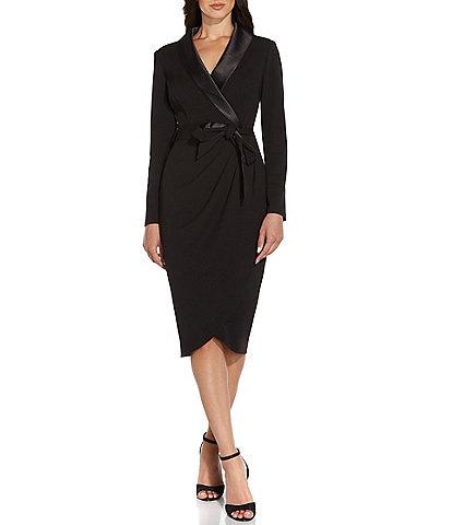 Adrianna Papell Satin Lapel Long Sleeve Wrap Tuxedo Midi Dress