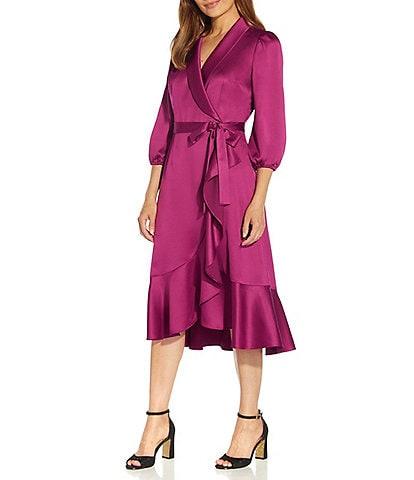 Adrianna Papell Satin Side Wrap Ruffle Hem Shawl V-Neck Long Sleeve Midi Dress