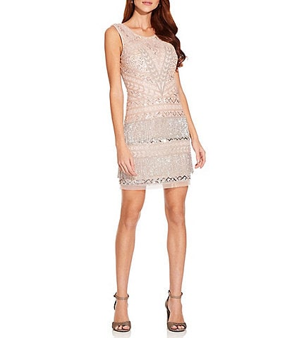 Adrianna Papell Sequin Beaded Fringe Scoop Neck Sleeveless Sheath Cocktail Dress
