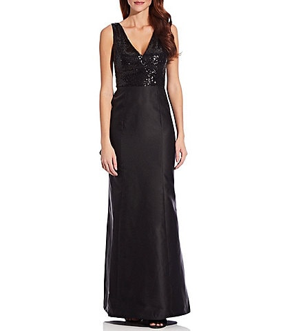 Adrianna Papell Sequin Bodice Mikado Bow Back Cascading Gown