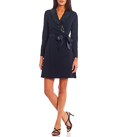 Adrianna Papell Sequin Lapel Long Sleeve Crepe Wrap Tuxedo Dress