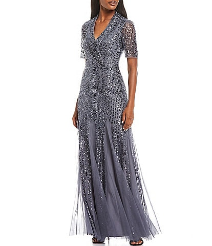 Adrianna Papell Shawl Collar Beaded Gown