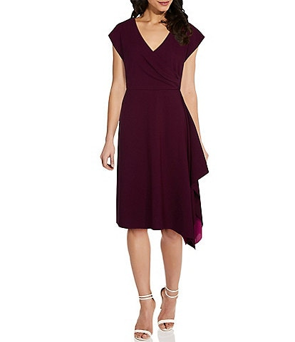 Adrianna Papell Side Ruffle Crepe Surplice V-Neckline Dress