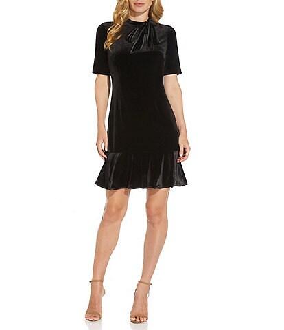 Adrianna Papell Side Tie Mock Velvet Elbow Sleeve Ruffle Hem Dress