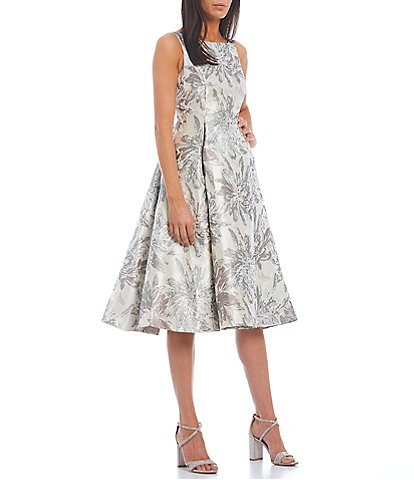 Adrianna Papell Sleeveless Metallic Floral Jacquard Fit and Flare Boat Neck Dress