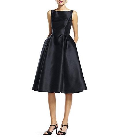 Adrianna Papell Boat Neck Sleeveless Midi Taffeta Dress