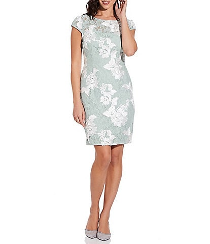 Adrianna Papell Soutache Lace Illusion Sheath Dress