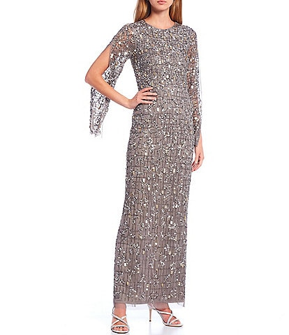 Adrianna Papell Split 3/4 Sleeve Beaded Column Gown