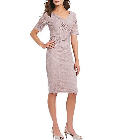 Adrianna Papell Stretch Lace Cowl Neck Sheath Dress