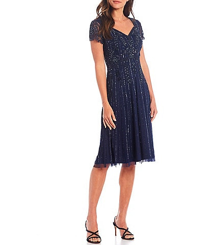 Adrianna Papell Sweetheart Neck Short Sleeve Fully Beaded Dress