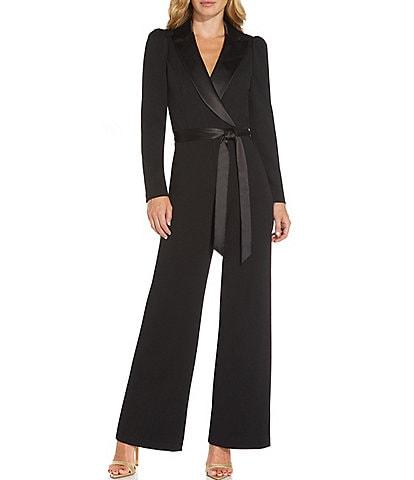 Adrianna Papell Tuxedo Crepe Surplice V-Neck Long Sleeve Wrap Front Wide Leg Jumpsuit