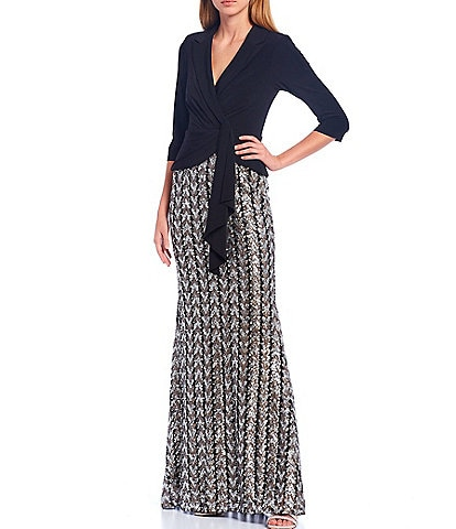 Adrianna Papell Tuxedo Wrap Chevron Sequined 3/4 Sleeve Gown