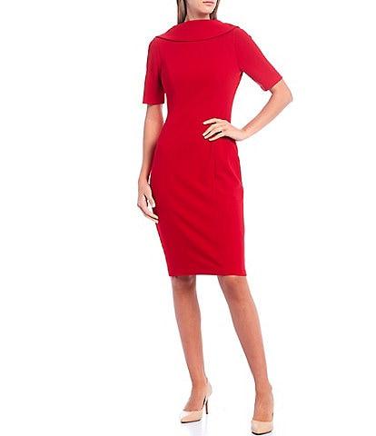 Adrianna Papell V-Back Foldover Collar Short Sleeve Sheath Dress