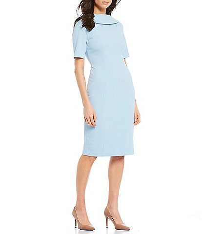 Adrianna Papell V-Back Foldover Collar Short Sleeve Midi Sheath Dress