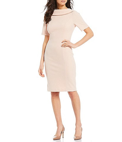 Adrianna Papell V-Back Foldover Collar Short Sleeve Sheath Dress