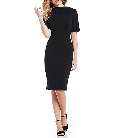 Adrianna Papell V-Back Portrait Collar Midi Length Sheath Dress