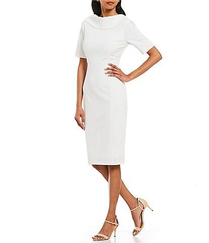 7fb3ee897086 Adrianna Papell V-Back Portrait Collar Midi Length Sheath Dress