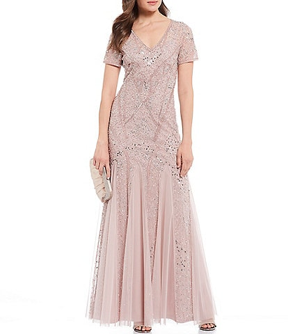 Adrianna Papell V-Neck Beaded Godet Gown
