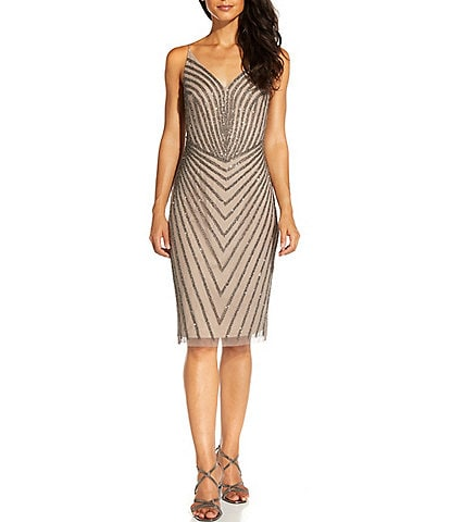 Adrianna Papell V-Neck Beaded Mesh Sheath Dress