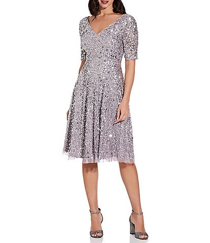 Adrianna Papell V-Neck Elbow Sleeve Sequin Fit & Flare Midi Dress