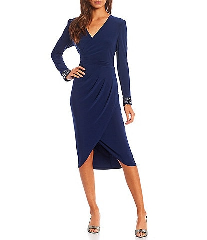 Adrianna Papell V-Neck Faux Wrap Beaded Cuff Long Sleeve Jersey Knit Dress