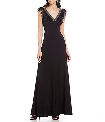 Adrianna Papell V-Neck Feather Trim Gown