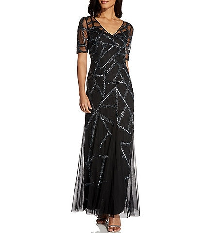 Adrianna Papell V-Neck Illusion Sleeve Beaded Covered Gown