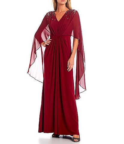 Adrianna Papell V-Neck 3/4 Capelet Sleeve Jersey Knit Beaded Cape Back Gown