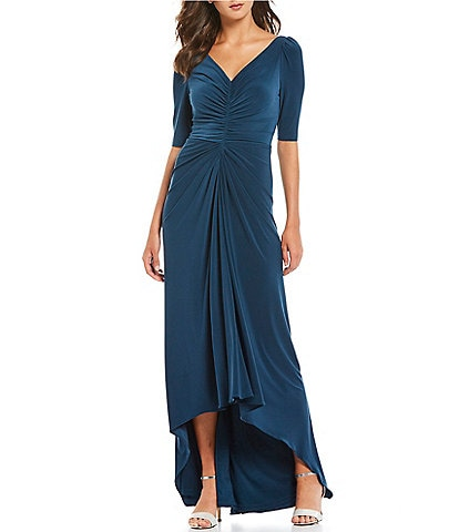Adrianna Papell V-Neck Ruched Hi-Low A-Line Stretch Gown