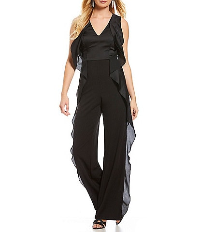 Adrianna Papell V Neck Ruffle Down Jumpsuit