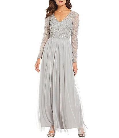 Adrianna Papell V Neck Sequin Bodice Chiffon Gown