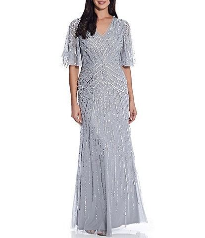 Adrianna Papell V-Neck Sequin Flutter Sleeve A-Line Gown