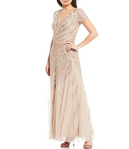 Adrianna Papell V-Neck Short Sleeve Beaded A-Line Gown