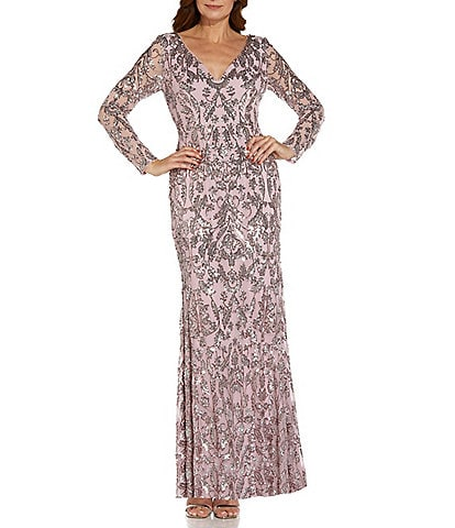 Adrianna Papell V-Neck Stretch Sequin Long Sleeve Sheath Gown