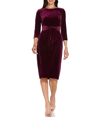 Adrianna Papell Velvet Tie Waist Crew Neck 3/4 Sleeve Sheath Dress