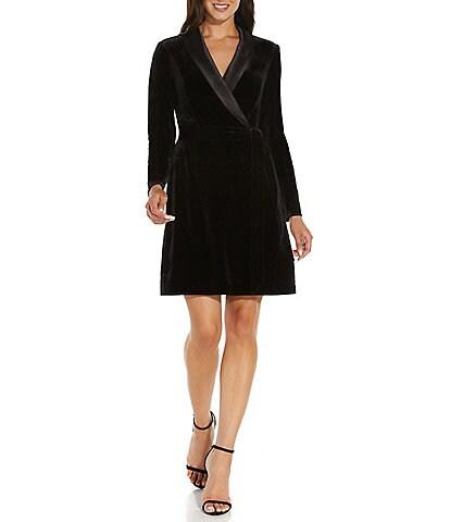 Adrianna Papell Velvet Tuxedo V-Neck Long Sleeve Wrap Dress