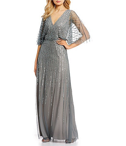V-Neck Beaded Blouson Illusion 3/4 Sleeve Gown