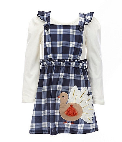 Adventure Wear by Copper Key Little Girls 2T-6X 2-Piece Knit Plaid Turkey Jumper Dress Set