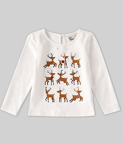 Adventure Wear by Copper Key Little Girls 2T-6X Long-Sleeve Reindeer Grid Top