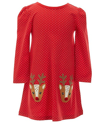 Adventure Wear by Copper Key Little Girls 2T-6X Polka-Dot Reindeer Dress