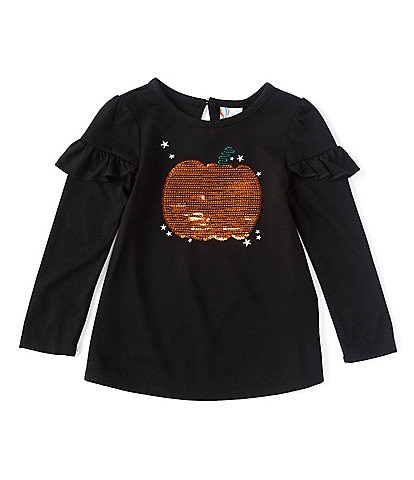 Adventure Wear by Copper Key Little Girls 2T-6X Sequin Pumpkin Long Sleeve Tee