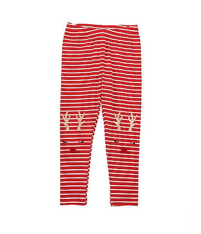 Adventure Wear by Copper Key Little Girls 2T-6X Stripe Reindeer Leggings