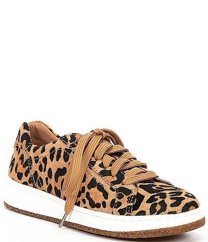 Aetrex Blake Leopard Print Calf Hair Lace-Up Sneakers